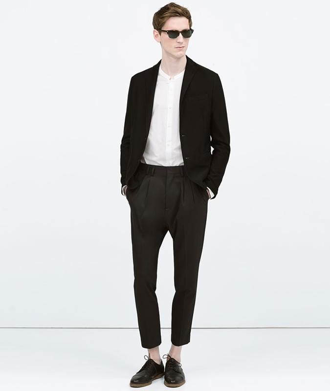 Pantaloni sartoriali neri zara